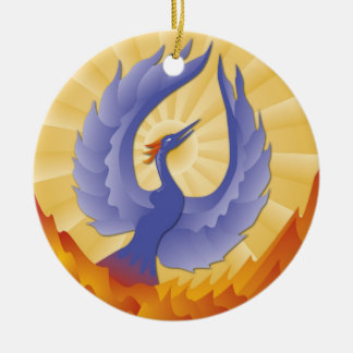 The Phoenix Rising from the Ashes Ceramic Ornament