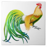 "The Phoenix Rooster Tile<br><div class=""desc"">Original fine art painting of a colorful Phoenix rooster by artist Carolyn McFann printed on a quality ceramic tile for chicken fans.</div>"