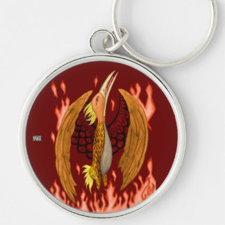 The Phoenix Silver-Colored Round Keychain
