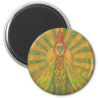 """The Phoenix"", sun bird, goddess, yellow &orange, Magnet"