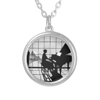 The Pianist Round Pendant Necklace