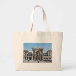 The Piazza Duomo square in Milan, Italy Large Tote Bag