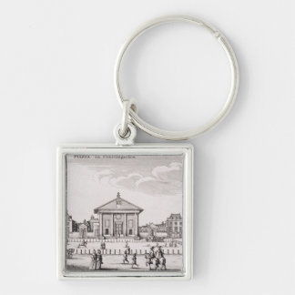 The Piazza in Covent Garden, 1647 (engraving) Keychain