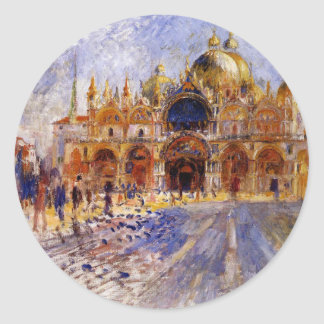 The Piazza San Marco by Pierre-Auguste Renoir Classic Round Sticker