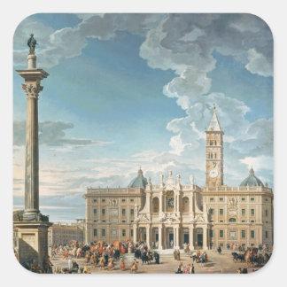 The Piazza Santa Maria Maggiore, 1752 Square Stickers