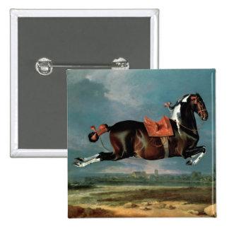 The piebald horse 'Cehero' rearing 2 Inch Square Button