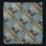 """The Piebald Horse &quot;Cehero&#39; Rearing Bandana<br><div class=""""desc"""">Elegant and classic painting re-elaboration  from Johann George Hamilton) was a Scottish still-life and animal painter.,  18. Century .Vibrant blue black, brown, white, red colors.</div>"""