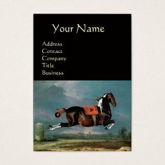 "The Piebald Horse ""Cehero' Rearing  ,black Business Card"