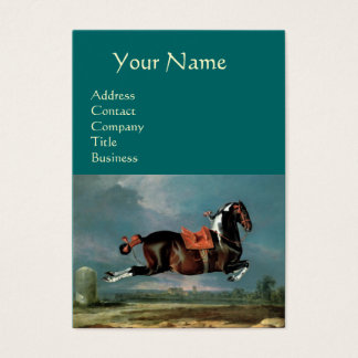 "The Piebald Horse ""Cehero' Rearing Monogram ,black Business Card"