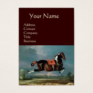 "The Piebald Horse ""Cehero' Rearing Monogram ,brown Business Card"