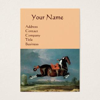 "The Piebald Horse ""Cehero' Rearing Monogram ,pink Business Card"