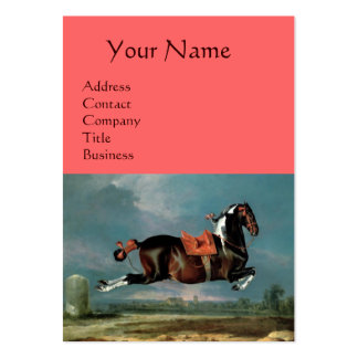 """The Piebald Horse """"Cehero' Rearing Monogram ,pink Large Business Cards (Pack Of 100)"""