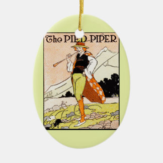The Pied Piper Double-Sided Oval Ceramic Christmas Ornament