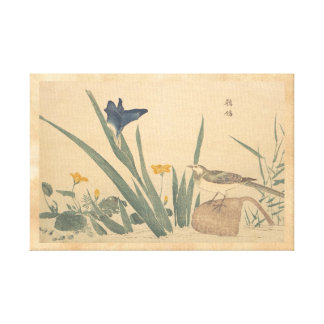 The Pied Wagtai and flower Kuwagata Keisai ukiyo-e Canvas Print