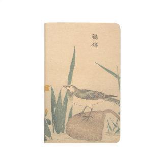 The Pied Wagtai and flower Kuwagata Keisai ukiyo-e Journal