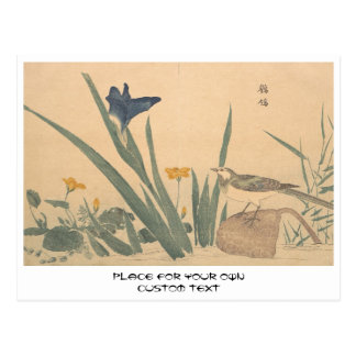 The Pied Wagtai and flower Kuwagata Keisai ukiyo-e Postcard