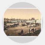 The pier, Lowestoft, England rare Photochrom Round Stickers