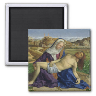The Pieta, c.1505 (oil on panel) (post 1996 restor 2 Inch Square Magnet
