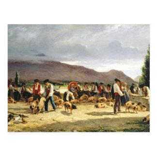 The Pig Market, 1875 Postcard