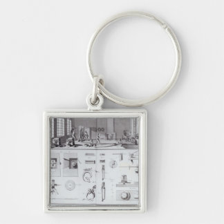 The Pin Factory, plate 2 from Volume IV Silver-Colored Square Keychain