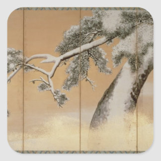 The Pines under Snow Square Sticker