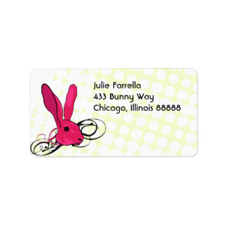 The Pink Bunny Rabbit Cartoon Illustration Address Label