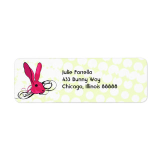 The Pink Bunny Rabbit Cartoon Illustration Return Address Label