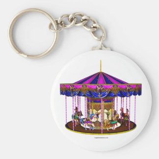 The Pink Carousel Basic Round Button Keychain