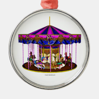 The Pink Carousel Round Metal Christmas Ornament