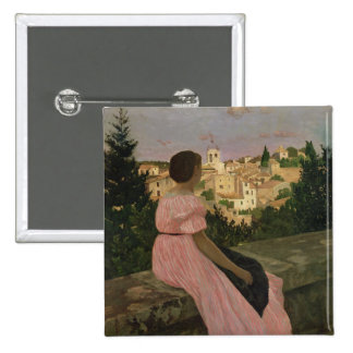 The Pink Dress, or View of Castelnau-le-Lez 2 Inch Square Button
