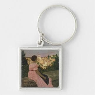 The Pink Dress, or View of Castelnau-le-Lez Key Chains