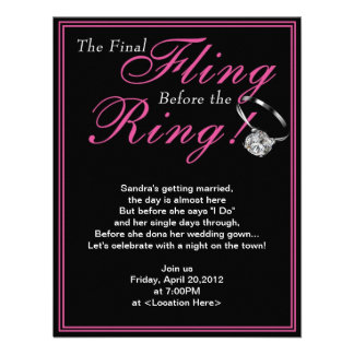 The Pink Final Fling Bachelorette Party Invitation