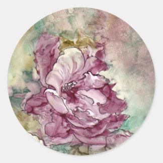 """The Pink Flower"" Painting Round Sticker"