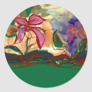 The Pink Flower>Watercolour Painting Classic Round Sticker