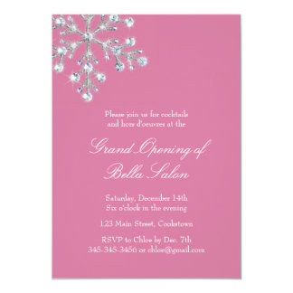 The Pink Grand Opening Offset Crystal Snowflake 5x7 Paper Invitation Card