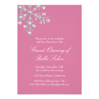 The Pink Grand Opening Offset Crystal Snowflake Invite