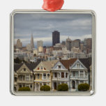 The Pink Ladies Victorian style houses in the Square Metal Christmas Ornament