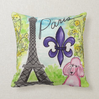 The Pink Poodle in Paris Throw Pillow