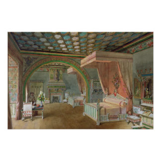 The Pink Room in the Chateau de Roquetaillade Poster