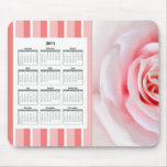 The pink rose calendar mouse pad