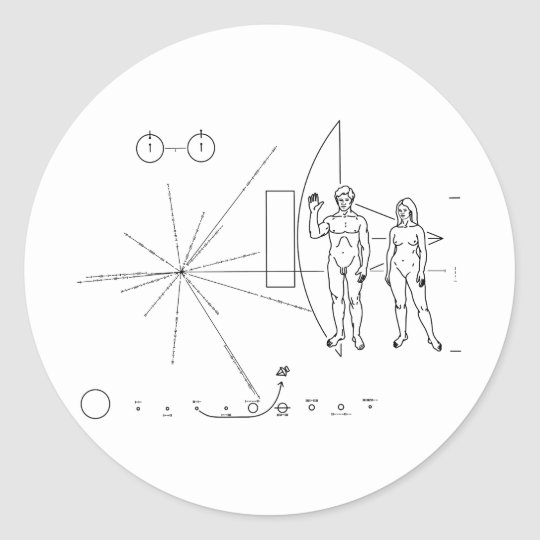 The Pioneer Plaque On Board Pioneer 10 and 11 Classic Round Sticker