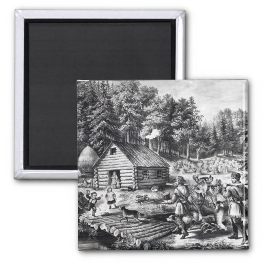 The Pioneer's Home on the Western Frontier 2 Inch Square Magnet