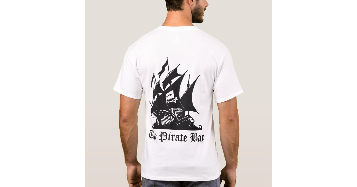 The pirate bay logo on back t shirt zazzle for South bay t shirt printing