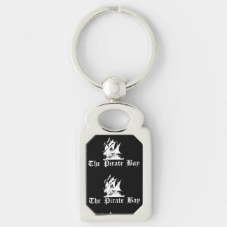 The Pirate Bay Silver-Colored Rectangular Metal Keychain