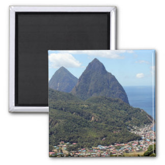 The Pitons and Soufriere 2 Inch Square Magnet