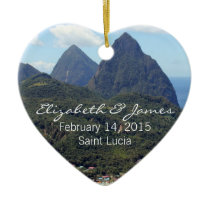 The Pitons and Soufriere Ceramic Ornament