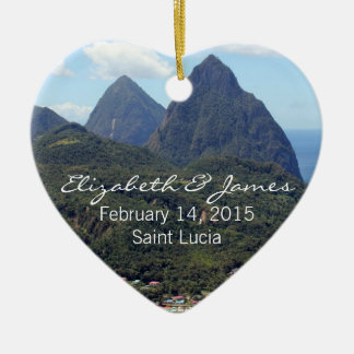 The Pitons and Soufriere Double-Sided Heart Ceramic Christmas Ornament