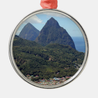 The Pitons and Soufriere Round Metal Christmas Ornament