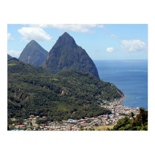 The Pitons and Soufriere Postcard