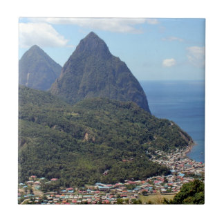 The Pitons and Soufriere Tile
